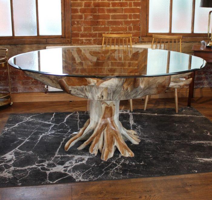 Teak Root Glass Top Dining Table, Tree Trunk Furniture Uk