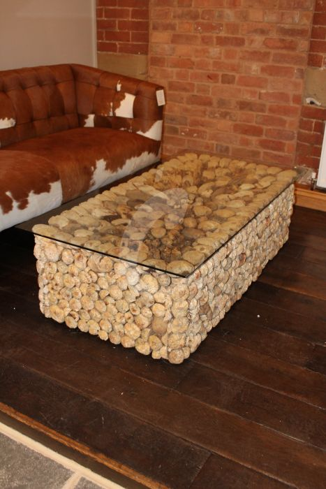 Rectangle Driftwood Coffee Table With Glass Top Hen2354