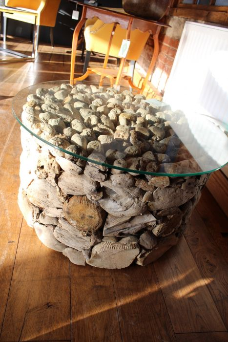 Awesome Round Driftwood Coffee Table With Glass Top Hen2247 Uwap Interior Chair Design Uwaporg