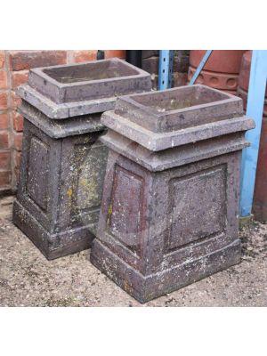 *RARE!!* Reclaimed Rectangular Chimney Pot - Staffordshire Blue  PAIR
