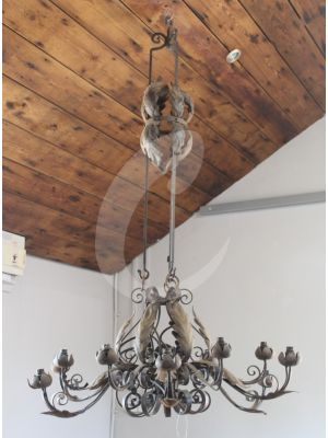 Reclaimed Hand Forged 12 Arm Chandelier Light Fitting - 2 Available